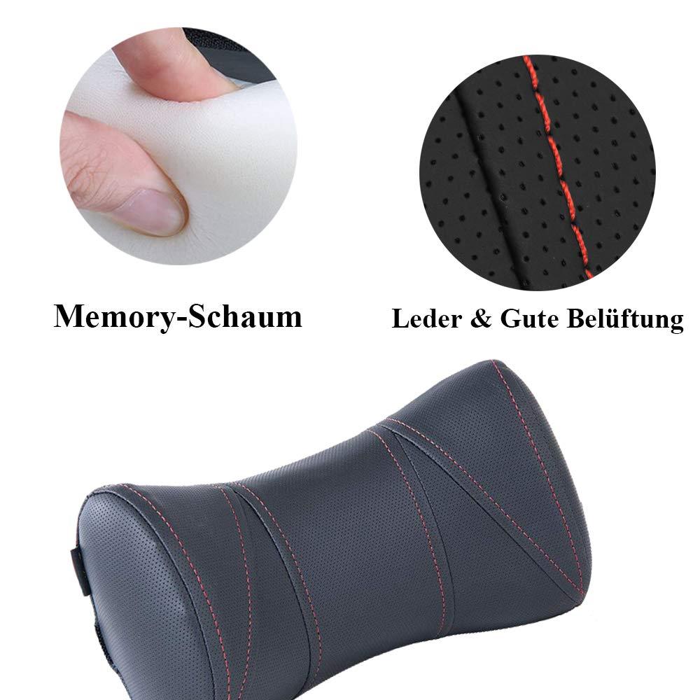 Auto Nackenkissen mit Leder /& Memory Schaum Auto Kopfst/ütze Kissen atmungsaktiv,Schwarz Mehrweg Tanyoo Auto Kopfst/ütze
