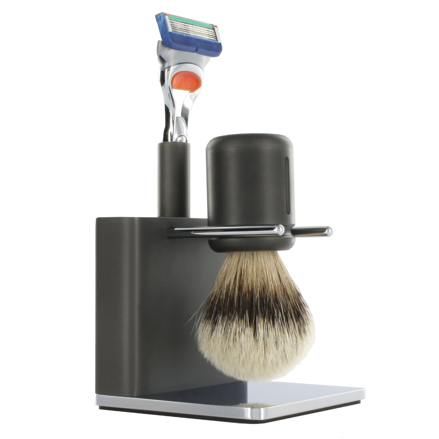 TwinLuxe 'Fine Shaving Instruments' ANTHRACITE Edition Shave Set - includes brush, razor, stand