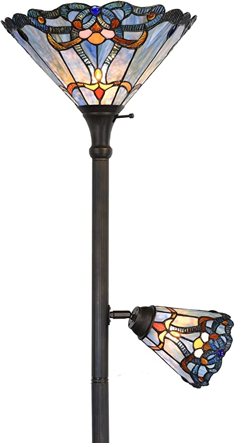 Bieye L10686 Baroque Tiffany Style Stained Glass Torchiere Floor