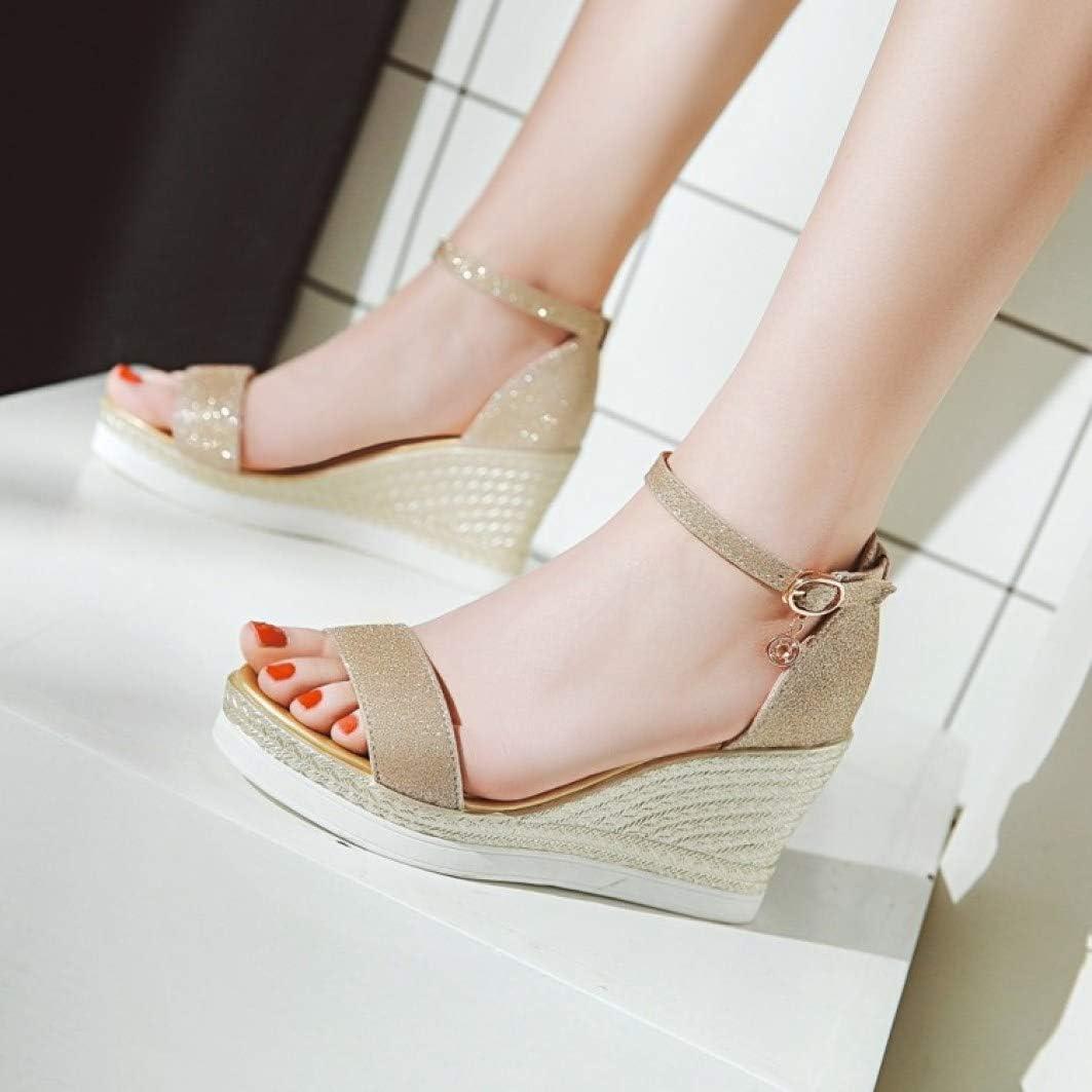 Alpargata de Las Mujeres Sandalia de cuña con Lentejuelas Hebilla de Tela Fiesta Boda Zapatos de Vestir de tacón Alto Oro