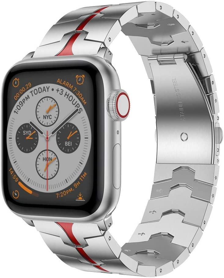 RABUZI Compatible for Apple Watch Band 44mm/42mm,Enamel Process Stainless Steel Metal Watch Replacement Bands Compatible for Apple Watch Series 6/5/4/3/2/1 Smartwatch,Silver+Red Enamel process