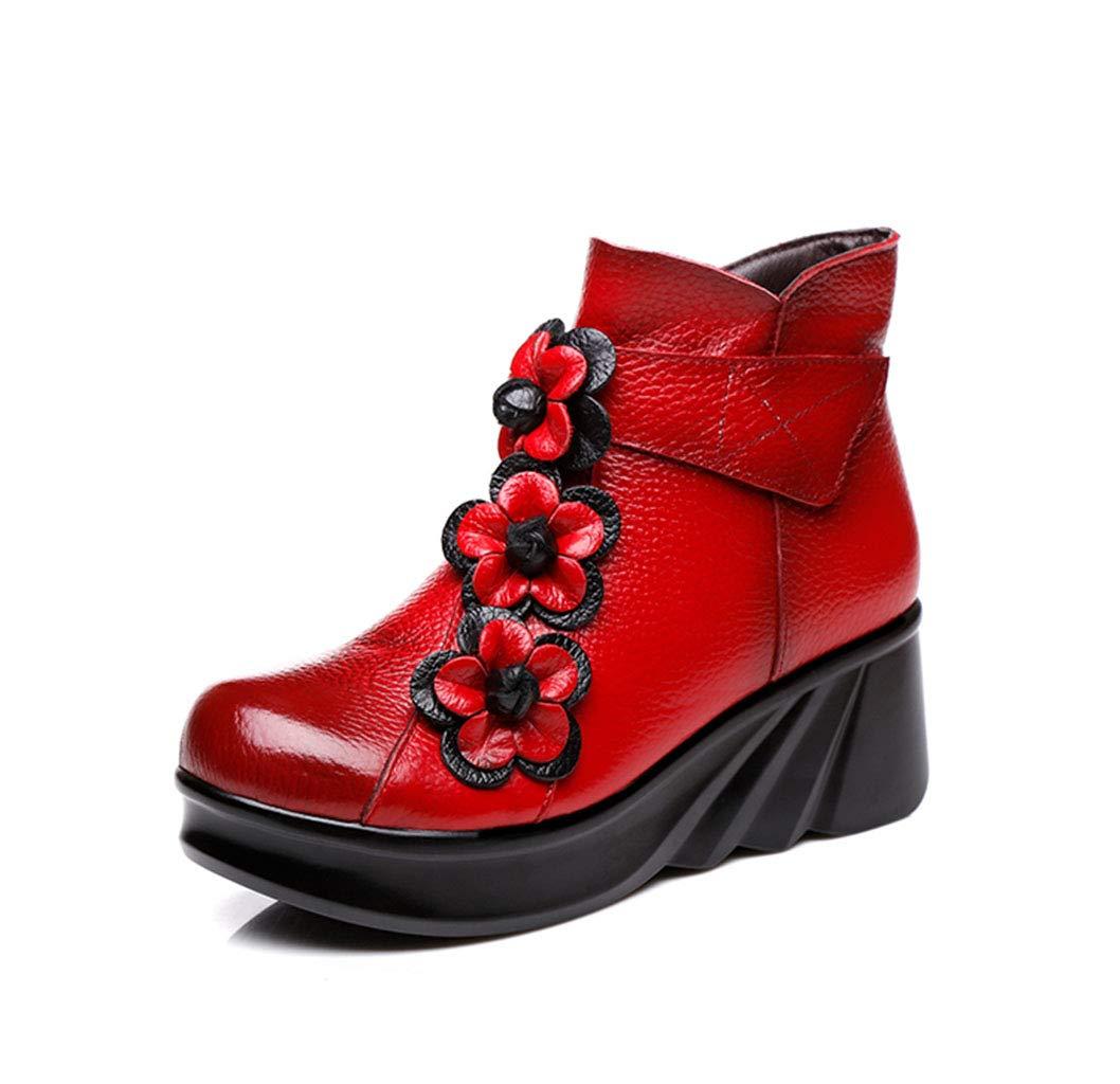 HRN Frauen Martin Stiefel Leder Lackleder runden Kopf Kurze Stiefel seitlichen Reißverschluss Retro handgemachte Blaume Baumwolle Stiefel ethnischen Stil rot 36EU