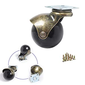 YeMI 2 inch Rolling Ball Castors Wheels for Furniture, Set of 4 Antique Gold Top Plate casters with 360 Degree Rotated for Coffee Table, Bench,Piano & Ottoman on Carpet