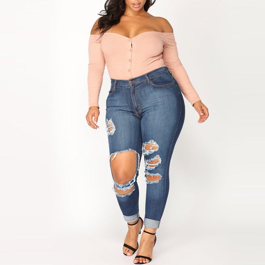 Zhhlaixing Fashion Rodilla Tramo Jeans Pitillo Destruir Diseñador ...