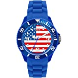 ICE-Watch - Montre Mixte - Quartz Analogique - Ice-World - USA - Big - Cadran Multicolore - Bracelet Silicone Bleu - WO.US.B.S.12