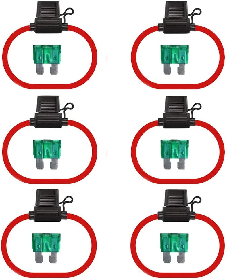 Fuse Holder-6Pack NIANPU 12 Gauge ATC//ATO 30A Fuse Holder with Blade Standard Plug Socket-Automotive Inline Wiring Harness