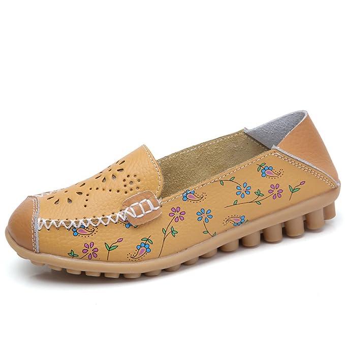 Bridfa Zapatos de mujer de cuero genuino real Pisos femeninos Transpirable Mujer Mocasines casuales Ocio Barco Zapato Mocasines Conducción de calzado: ...