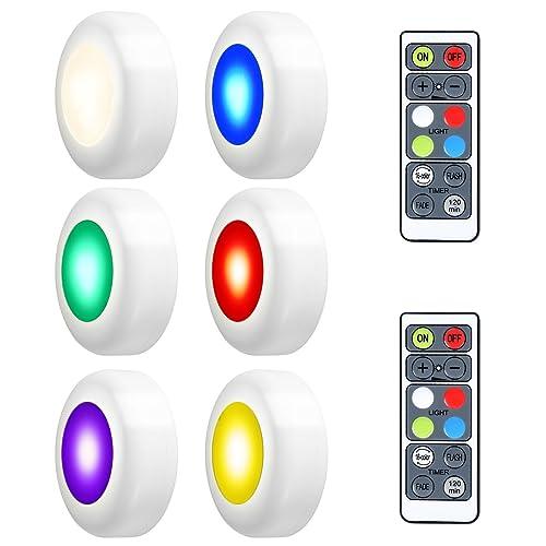 LEDGLE Luces LED de Armario, Luces LED de Noche 3W Ajustable Sin Cable con Control