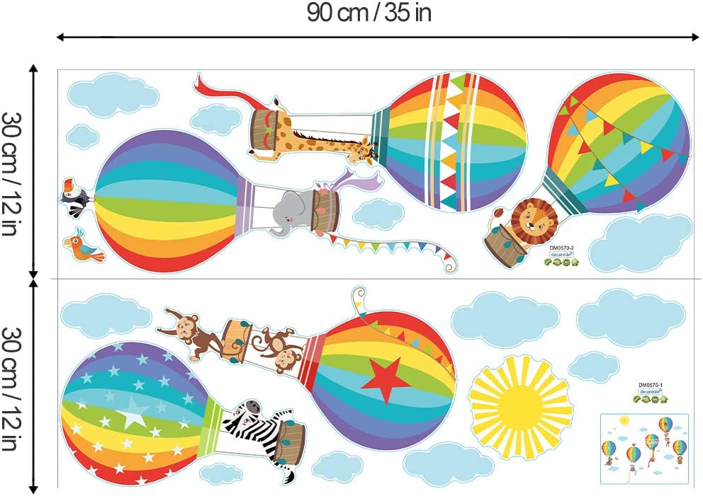 decalmile Pegatinas de Pared Animales Globos Aerost/áticos Arco Iris Vinilos Decorativos Mono Le/ón Adhesivos Pared para Habitaci/ón Infantiles Beb/és Guarder/ía Sal/ón