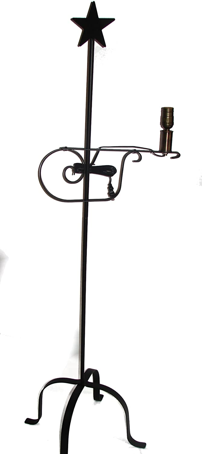 Wrought Iron Floor Lamp Star Top - Amish Made