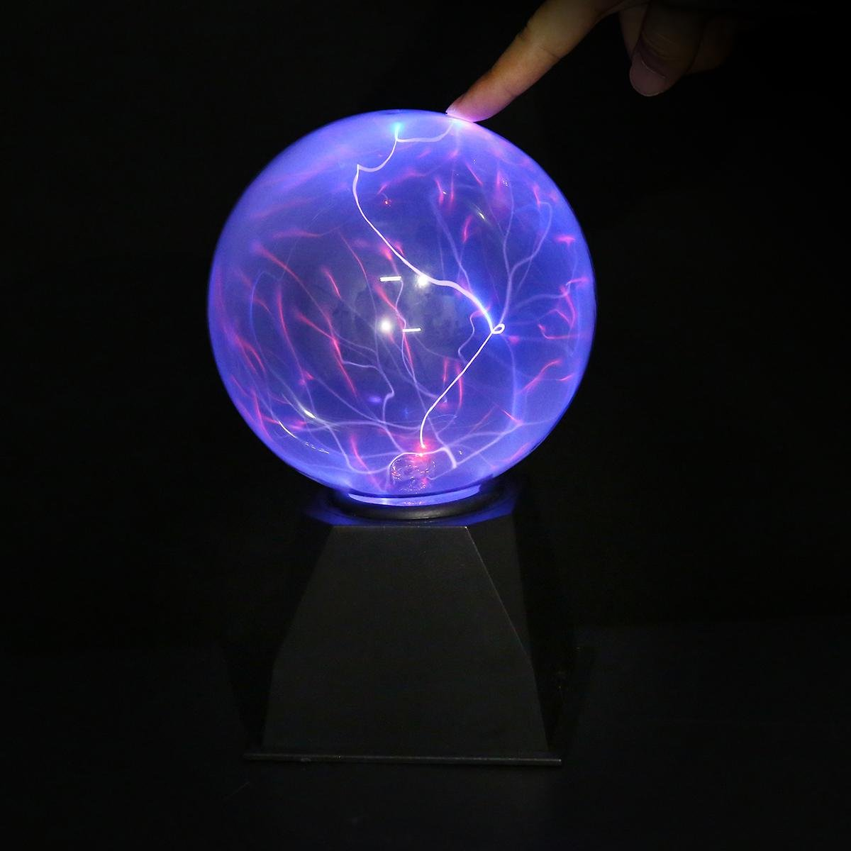 Plasma Ball, Teepao 6 inch [Touch&Sound Sensitive] Plasma Lamp Magic Plasma Globe Thunder Lightning Light Novelty Toy for Kids and Adults, AC/DC Adapter Included