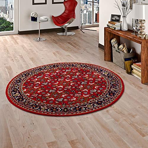 Theko Natur Orientteppich Royal Rot Blau Herati Rund in 2 Größen
