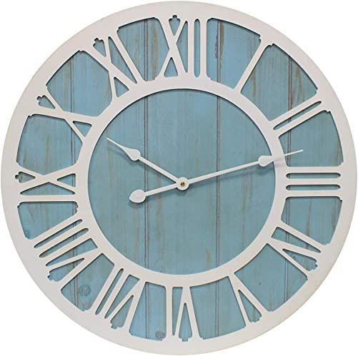 YIDIE 36 inch Large Wall Clock Silent Non-Ticking Decorative Clocks for Farmhouse Living Room, Blue White