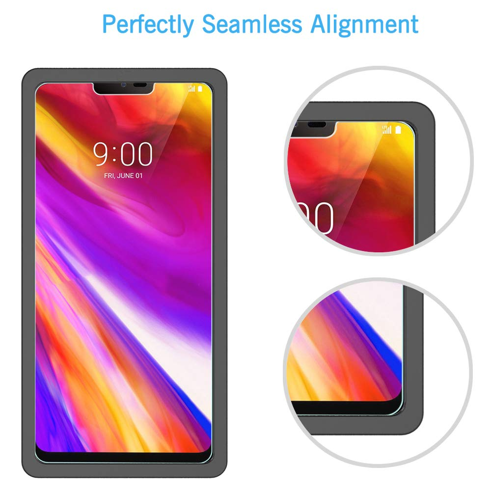 [3 Pack] LK Screen Protector for LG G7 ThinQ, [Tempered Glass][Case Friendly] DoubleDefence [Alignment Frame Easy Installation] with Lifetime ...