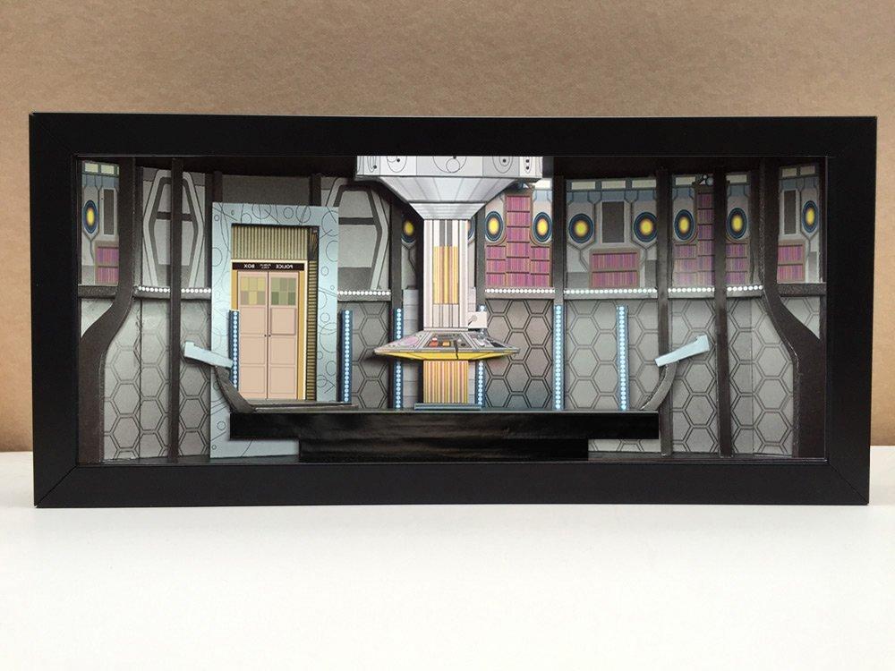 Doctor Who Tardis interior shadowbox diorama - memorabilia picture art collector gift