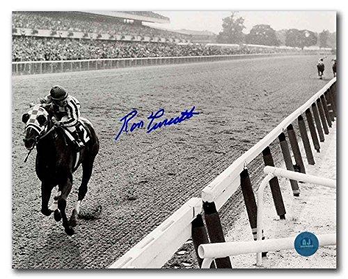 Autographed Triple Crown - Ron Turcotte Autographed Secretariat Triple Crown Victory Look Back 16x20 Photo - Autographed Horse Racing Photos