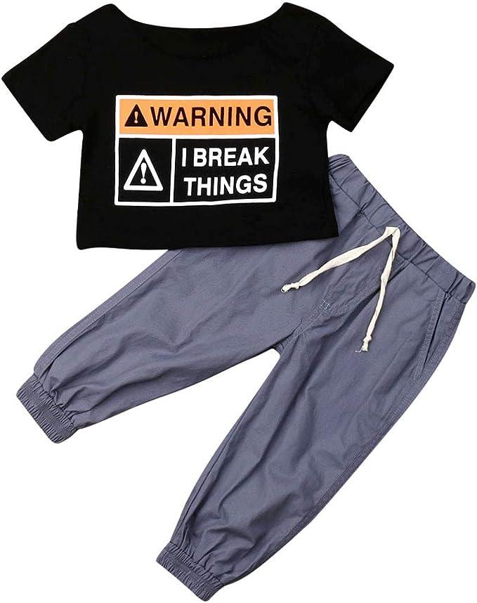 Short Pant 2Pcs Outfits Toddler Clothes Sets,HimTak Boys Girls Cartoon Print Short Sleeve Tops