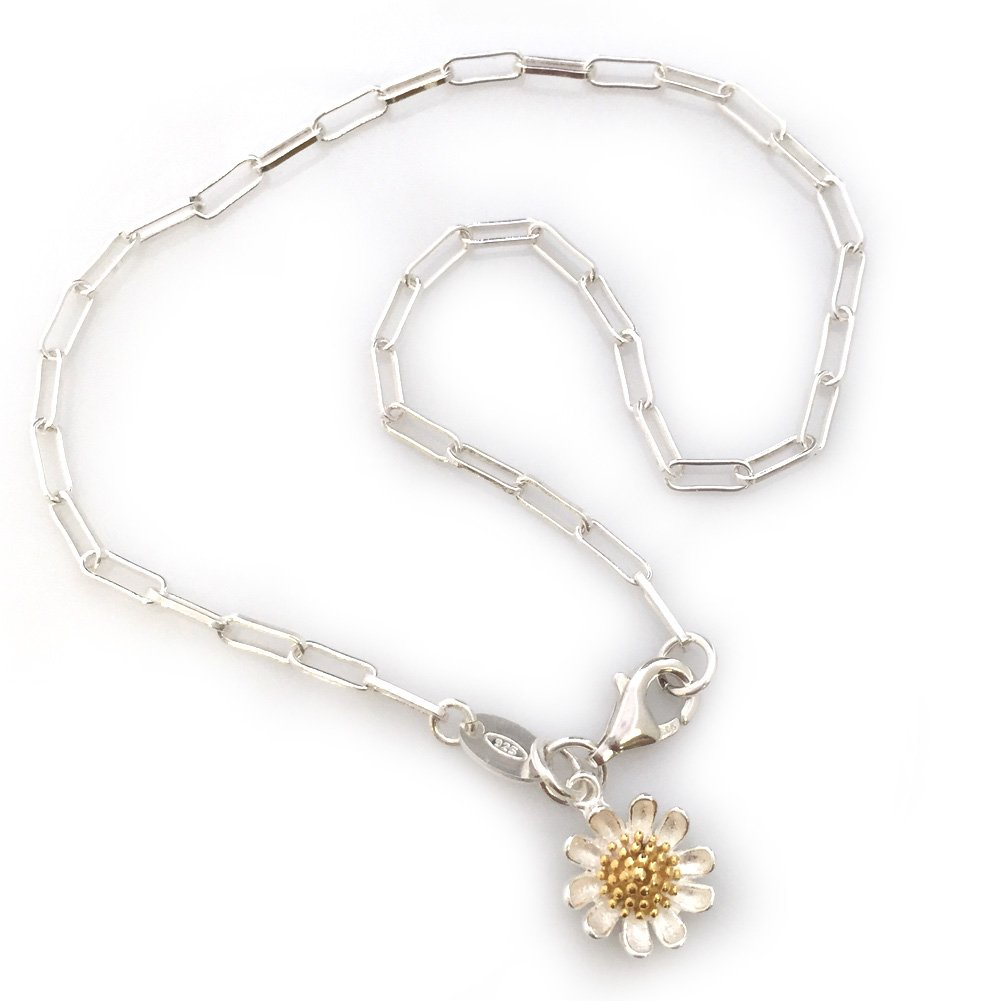 Sterling Silver Anklet-Long Box Chain-Flower Charm Anklet (11 inches)