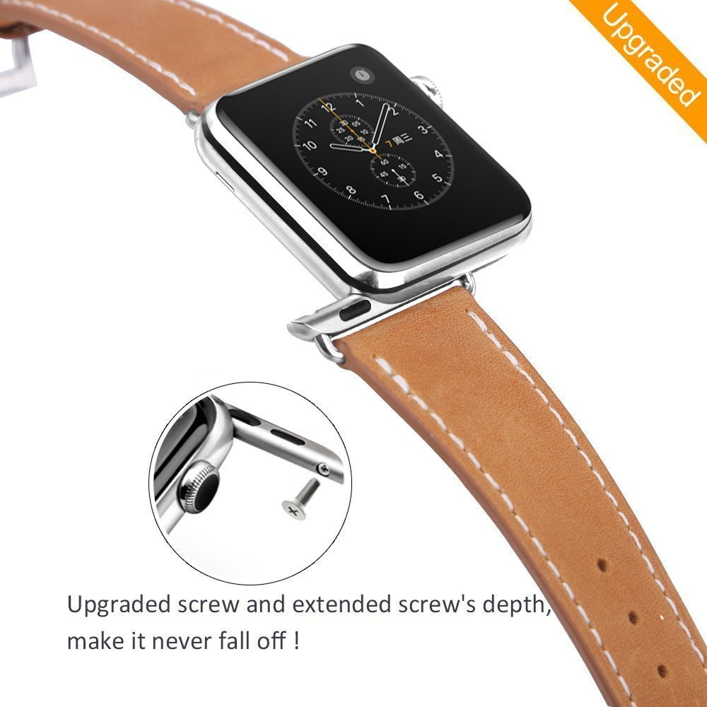 MARGE PLUS for Apple Watch Band 38mm, Genuine Leather iWatch Strap for Apple Watch Series 3 Series 2 Series 1 Sport and Edition, Brown by MARGE PLUS (Image #7)