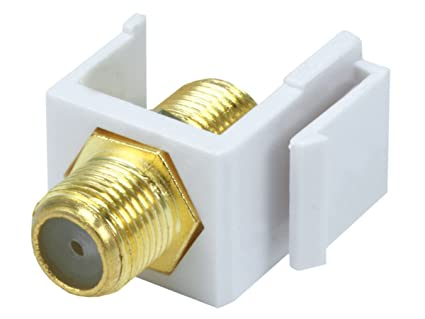 White 12x F Type Keystone Jack Insert Coupler Coax Cable Adapter Snap in RG6 59