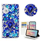 STENES ZTE Grand X Max 2 Case, ZTE ZMax Pro Case - Stylish - 3D Handmade Bling Crystal Luxury Gemstone Rose Flowers Wallet Credit Card Slots Fold Media Stand Leather Cover Case - Blue