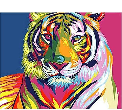 DIY 数による絵画 デジタル油絵着色されたタイガーヘッド動物キャンバスアート画像ギフト結婚式の装飾-40*50cm