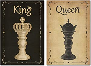 sechars Chess Canvas Wall Art Vintage King and Queen Chess Painting Poster Art Print Antique Decor for Living Room Bedroom Stretched Gallery Canvas Wrap Giclee Artwork Ready to Hang Gift Piece