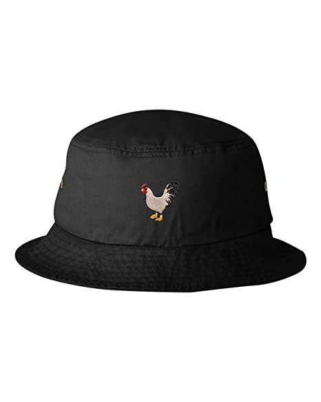 Go All Out One Size Black Adult Chicken Embroidered Bucket Cap Dad Hat e21eccd92bd
