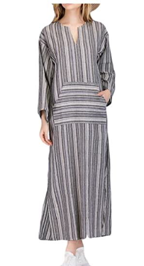2fb2819aec M S W Women Loose Linen V Neck Long Sleeve Striped Dresses at Amazon ...