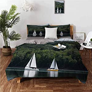 """Sailboat Bedding Duvet Cover Sailboats on a Lake Forest Hill Yachting Countryside Coastline Nature Scenics Comforter Cover and 2 Pillow Shams Soft Comfy Breathable Fade resistance - Full 80""""x90"""""""