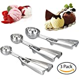 QHTY  Small-Medium-Large 3 Packs Ice-Cream Scoop Stainless Steel and Trigger Cookie Spoon Melon Spoon