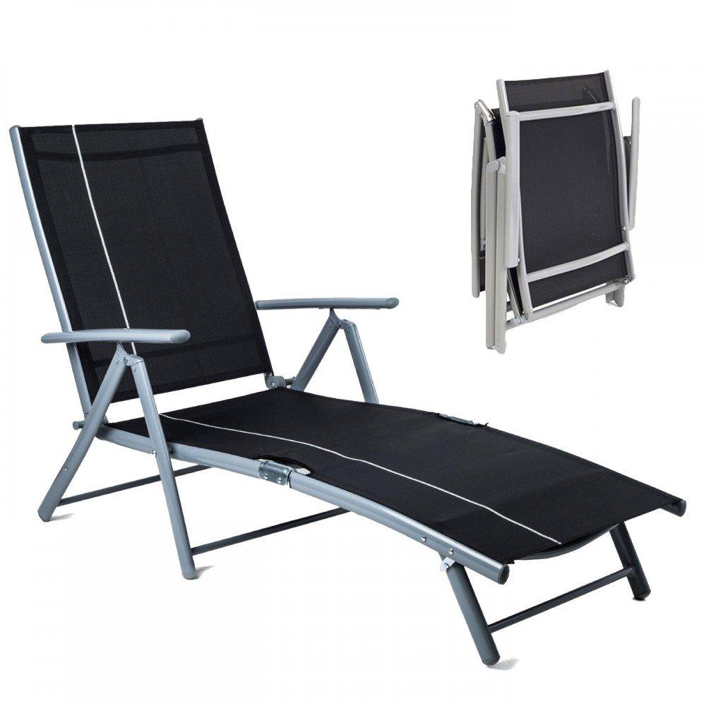 HomeKraft Florence Chaise Longue de Jardin en Aluminium - Inclinaison réglable sur 7 Niveaux - Noir 4Kraft