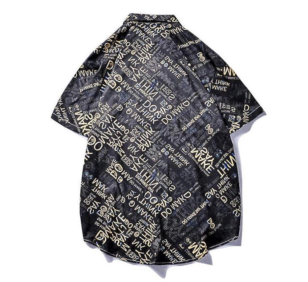 ZYLL Shirt Pattern Lapel Casual Print Half Sleeve Slim Mens