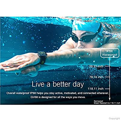 Smart Watch Waterproof Hear Rate Pedometet IP68 Water Resistant for Swimming Sports GV68 Bluetooth Smartwatches for Android and IOS (Red)