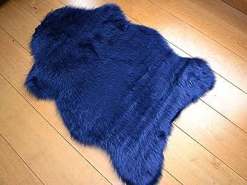 Sheepskin Bleu Marine Tapis En Fausse Fourrure 70 Cm X 100 Cm