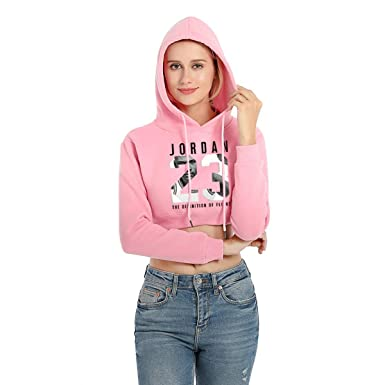 Woman Hoodies Long Sleeve Hoody Cotton Crop Blouse Pullover Crop Top Sweatshirts Pink