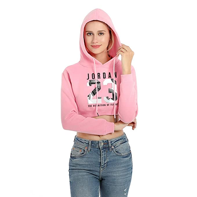 Woman Hoodies Long Sleeve Hoody Cotton Crop Blouse Pullover Crop Top Sweatshirts at Amazon Womens Clothing store: