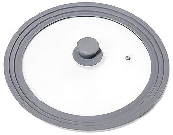 Oishii Tapa Universal de Vidrio con Borde de Silicona, para Ollas y Sartenes de Ø 28, 30 y 32 cm