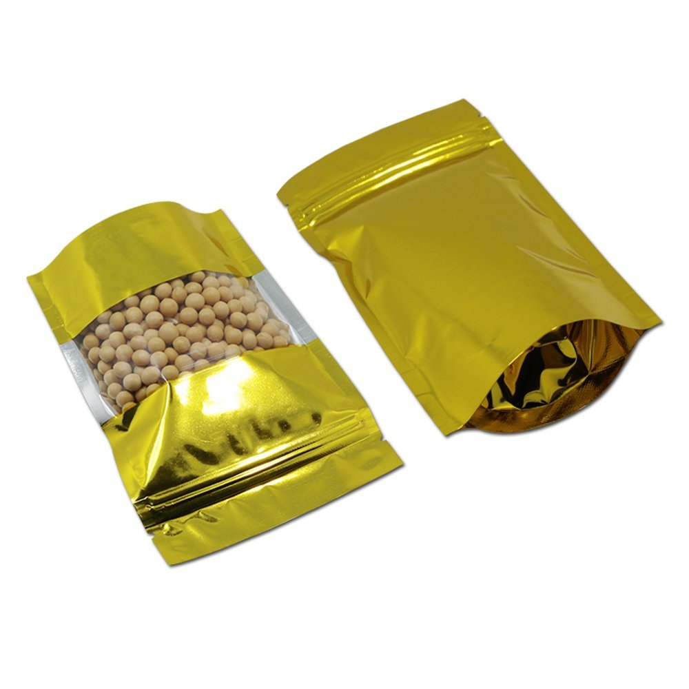 50Pcs 22x30cm (8.7x11.8 inch) Stand up Gold Mylar Foil Zip Lock Reclosable Pack Bag Clear Window Self Sealing Food Bean Snack Storage Smell Proof Pouch