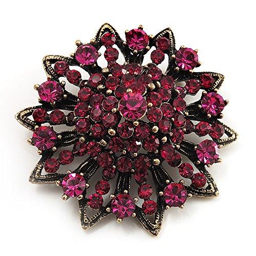Avalaya Magenta Crystal Dimensional Floral Corsage Brooch (Antique Gold Tone)
