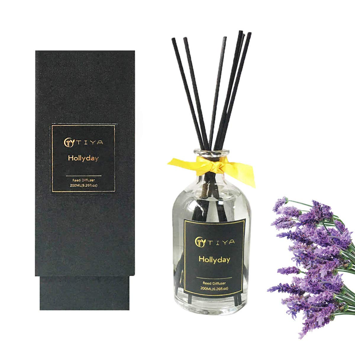 AROMATICSTORE Lavender and Lemongrass Reed Diffuser, 200 ML Essential Oil Aromatherapy Fragrance with Reed Sticks