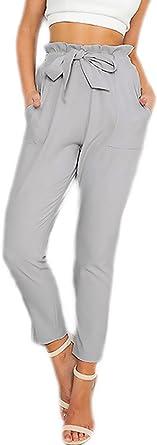 Mujer Pantalones Verano Elegante Casual Moda Joven Modernas Rectos Alto Cintura Con Lindo Chic Cinturon Es 7 8 Largos Pantalon Amazon Es Ropa Y Accesorios