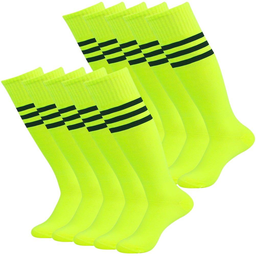 Lucky Commerce ユニセックス メンズ レディース スポーツ サッカー フットボール用膝丈無地ソックス 10/4/2足組 B06XFKCNN7 one size fit 7-13 10 Pairs Yellow(black Stripe) 10 Pairs Yellow(black Stripe) one size fit 7-13