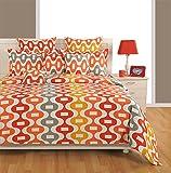 Swayam Eco Sparkle 140 TC Cotton Bedsheet with 2 Pillow Covers - King Size, Orange