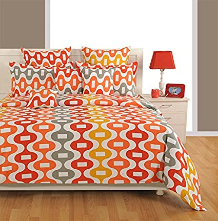 Swayam Eco Sparkle 140 TC Cotton Double Bedsheet with 2 Pillow Covers - Orange