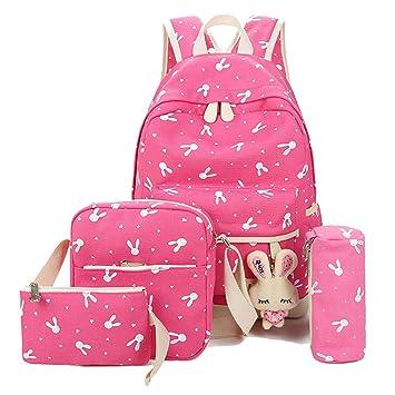 Lindo Las Mochilas Escolares Universidad/Bolsas Escolares Niñas + Bolso Crossbody + Bolsas De Lápiz Un tamaño Pink: Amazon.es: Equipaje