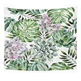 TOMPOP Tapestry Green Aloha Watercolor with Tropical Plants and Succulents Aquarelle Beautiful Home Decor Wall Hanging for Living Room Bedroom Dorm 50x60 Inches