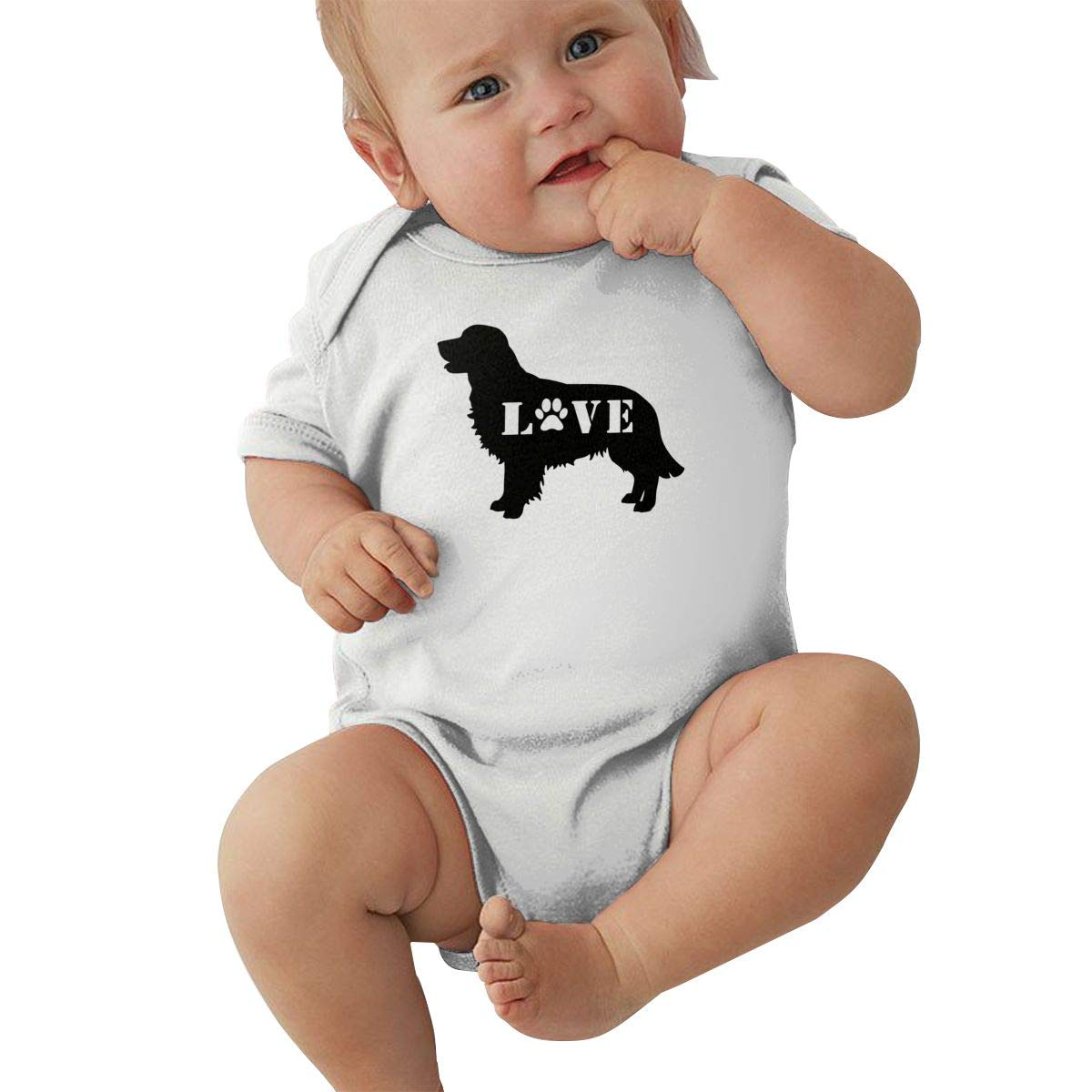 Cute Golden Retriever Love Dog Paw Jumpsuit Short Sleeve Cotton Rompers for Unisex Baby