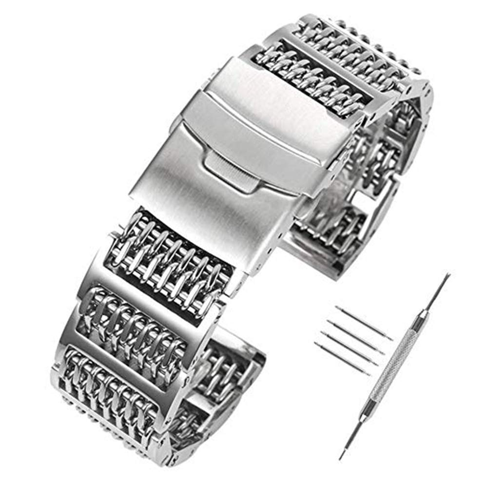 d88bf948db6ad 22mm Solid 316L Stainless Steel Watch Strap, H-Link Shark Mesh Watch Band  Heavy Duty Diving Wrist Straps for Men Women 2.2cm