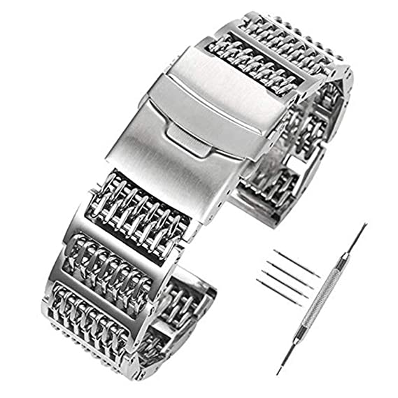 Brazalete para reloj Yisuya de acero inoxidable 316L macizo, malla milanesa, con eslabones en forma de H, 24 mm de ancho, color plata